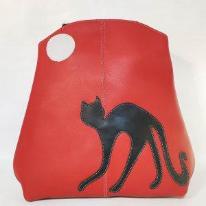 mochila gato roja