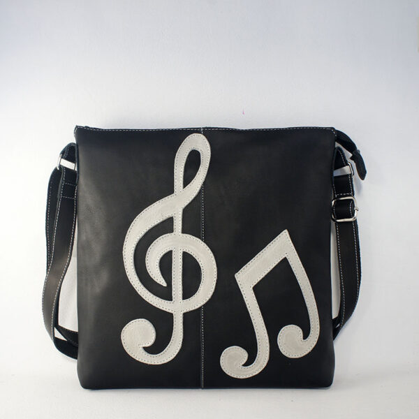 bolso negro de piel music