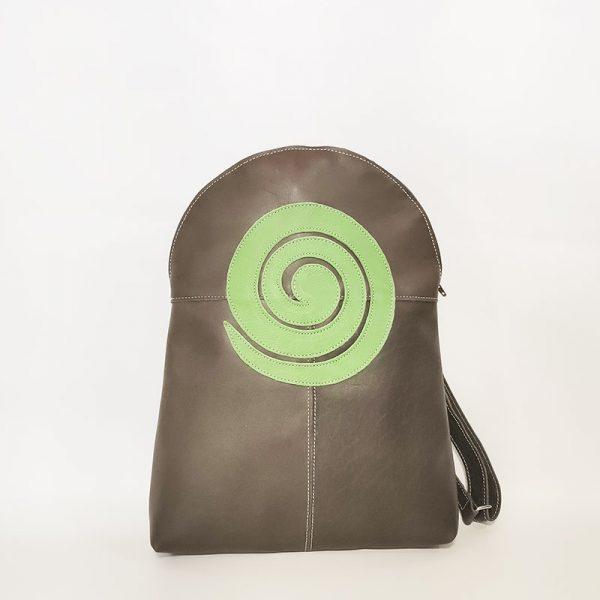 mochila verde espiral
