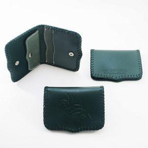 cartera de piel verde