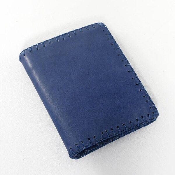 cartera piel azul